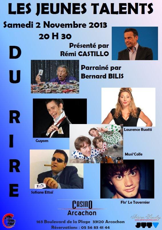 Les Jeunes Talents du Rire au Casino d'Arcachon Samedi 2 Novembre 2013